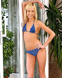 Petite teen in bikini strips naked